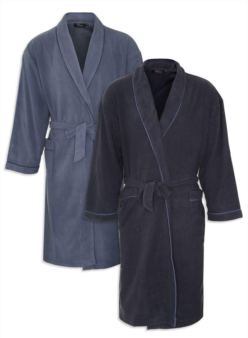 Champion Hampstead Microfleece Dressing Gown in blue and navy