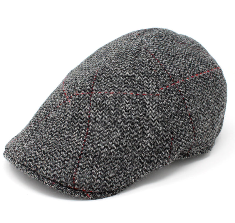 Hanna Duckbill Tweed Flat Cap | Black and Grey Herringbone with Red Overcheck - Hollands Country Clothing
