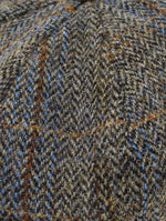 Colour; Brown herringbone with Blue Check tweed