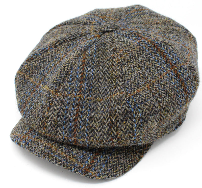 Hanna Tweed Gatsby Eight Piece Cap | Brown Herringbone with Blue Check