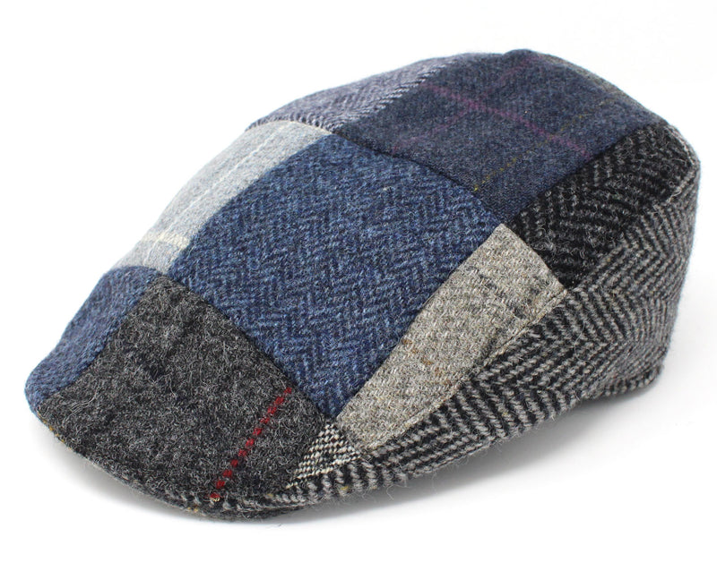 Hanna Patchwork Touring Cap | Blue and Grey Patchwork