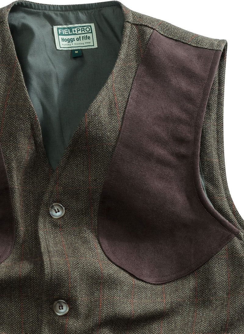 shooting shoudler pad Hoggs of Fife Harewood Tweed Waistcoat detail