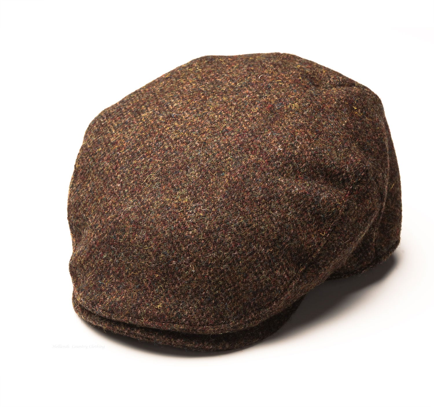 4f51e140 left side view Heather Highland Harris Tweed Flat Cap | Olive/Brown
