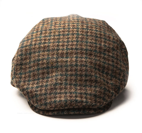Heather Highland Harris Tweed Flat Cap | Green Houndstooth
