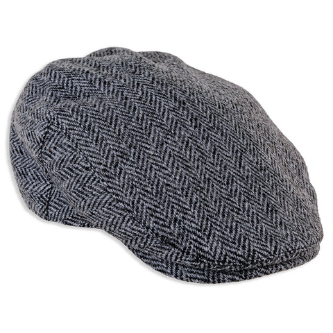 Heather Highland Harris Tweed Flat Cap | Black/Grey