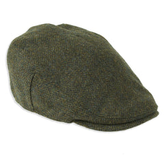 Chapman Shetland Wool Tweed Cap in Green Herringbone pattern