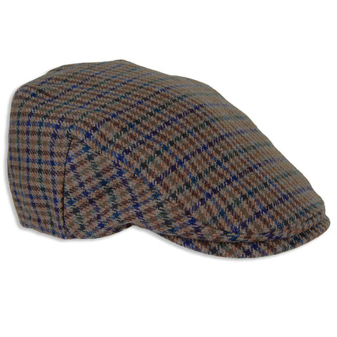Duncan Blue/Green Check Lambswool Tweed Flat Cap