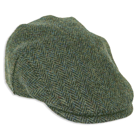 Highland Harris Tweed Cap in Dark Green Herringbone