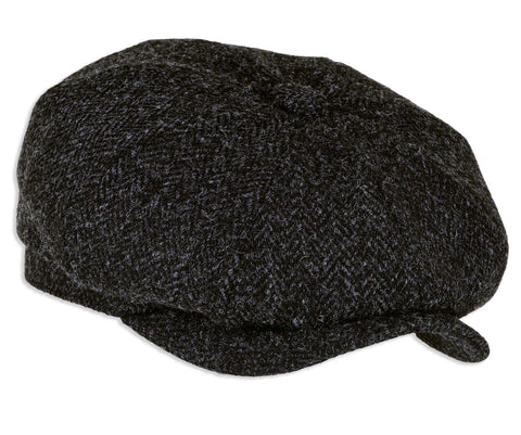 Heather Hats Harris Tweed Baggy Button Cap  in black herringbone tweed
