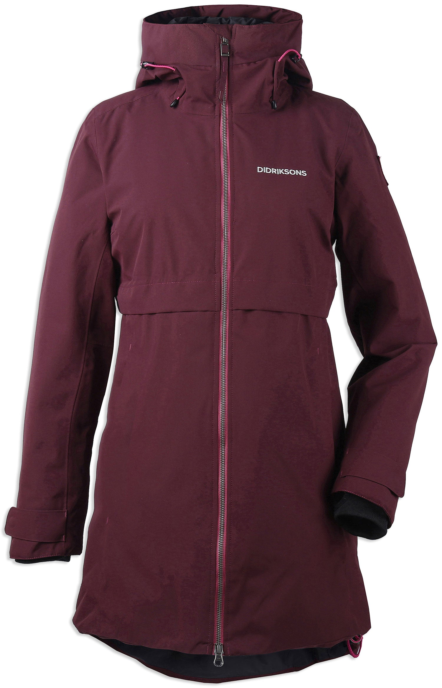 front view wine red women's waterproof Parka by Didriksons - Scandinavia's leading outdoor clothing specialists is a stylish 3/4 length