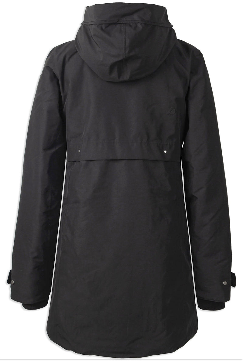Black Back View Didriksons Helle II Ladies Waterproof Winter Parka Coat