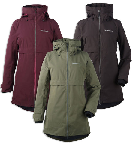 Didriksons Helle Ladies Waterproof Winter Parka Coat in peat, Chocolate, and Wine Red