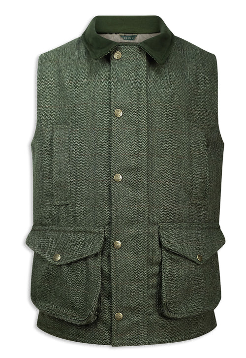 Hoggs of Fife Helmsdale Tweed Waistcoat | Green Herringbone Tweed