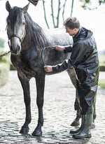 Equestrian long waterproof coat with a horse