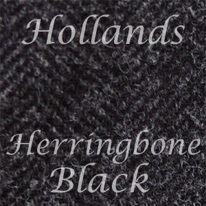 Black Herringbone Wool Tweed