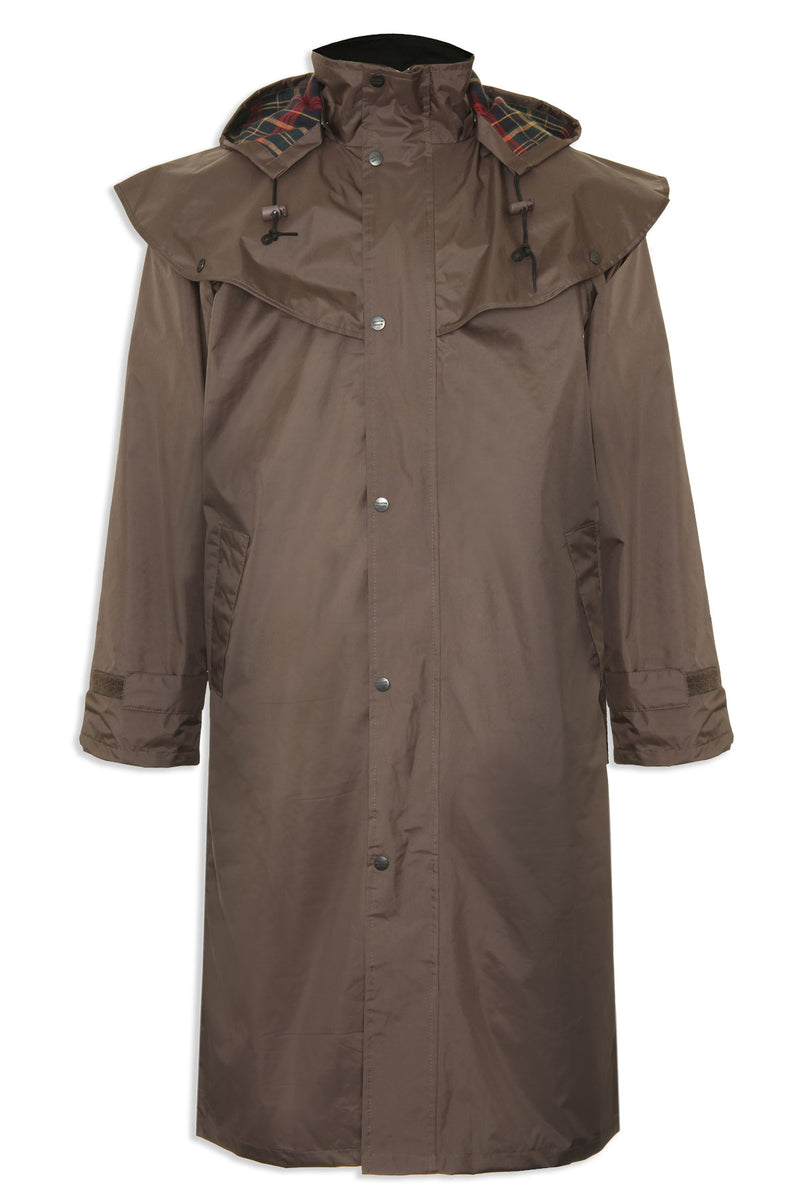 brown colour Highgrove Full Length Men's Long Waterproof Coat by Champion.