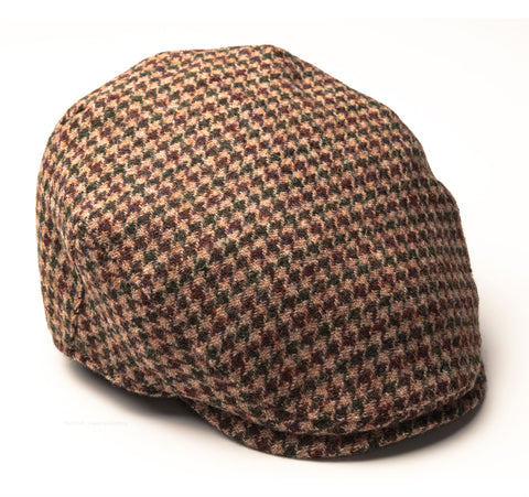 Heather Highland Harris Tweed Flat Cap | Beige Houndstooth