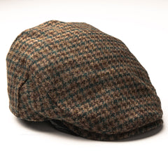 side view Heather Highland Harris Tweed Flat Cap | Green Houndstooth