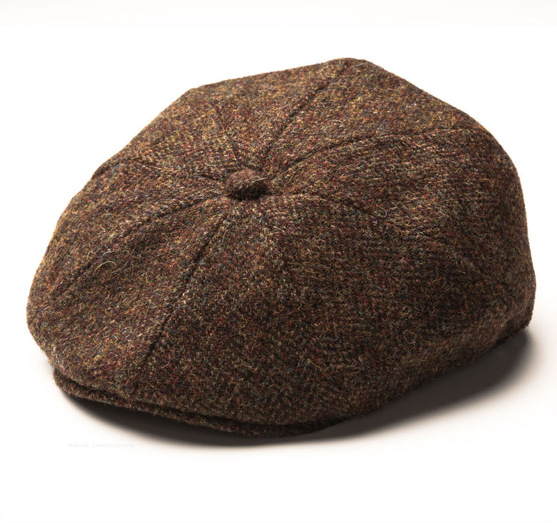 FINE HARRIS TWEED FALT CAP WITH 8 PANEL BROWN AND OLIVE COLOUR