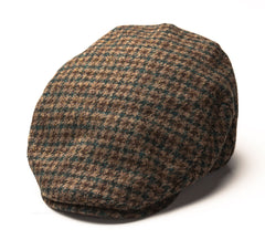 fixed peak Heather Highland Harris Tweed Flat Cap | Green Houndstooth