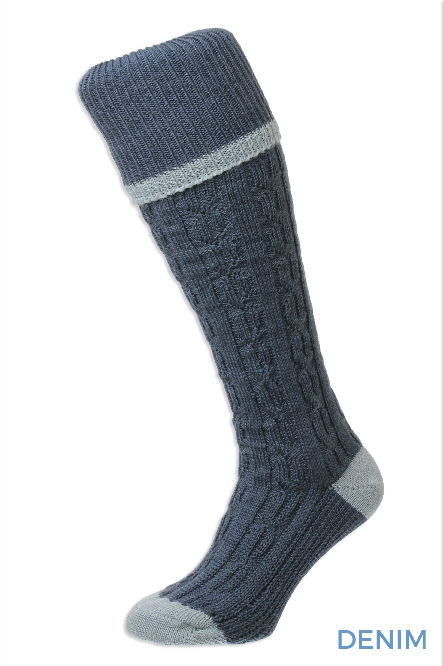 Denim Premium quality cable knee socks with turn over tops featuring at contrast colour at the toe, heel and top.