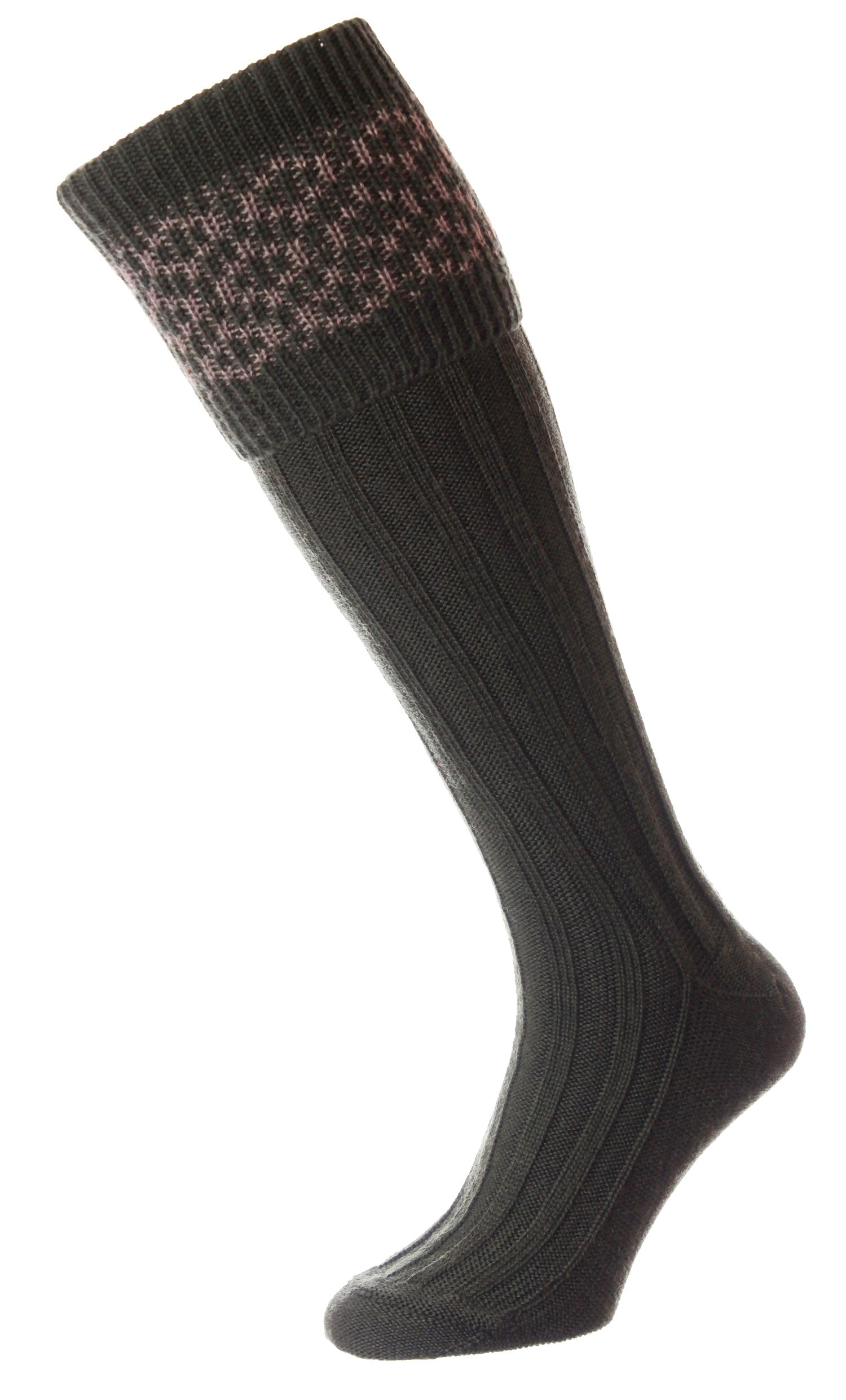 olive HJ Hall Cushion Foot Shooting Sock | Patterned Top
