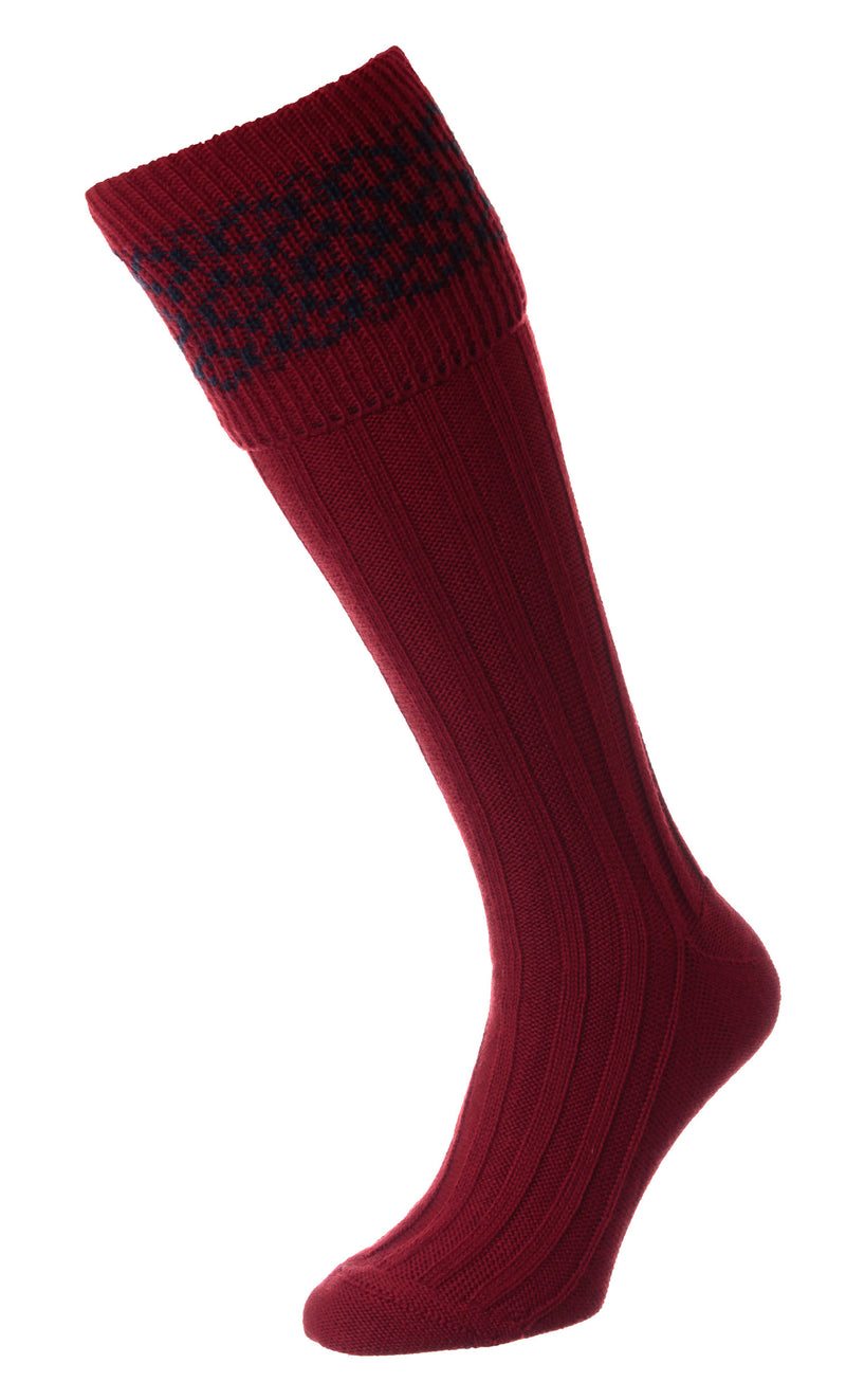 red HJ Hall Cushion Foot Shooting Sock | Patterned Top