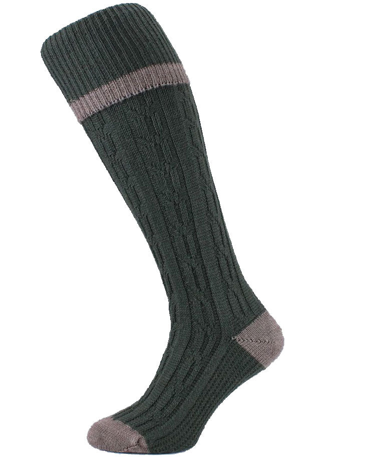 olive HJ Hall Cushion Foot Long shooting Sock | Contrast Tip