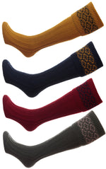 HJ Hall Cushion Foot Shooting Sock | Patterned Top in mustard, red,  green navy