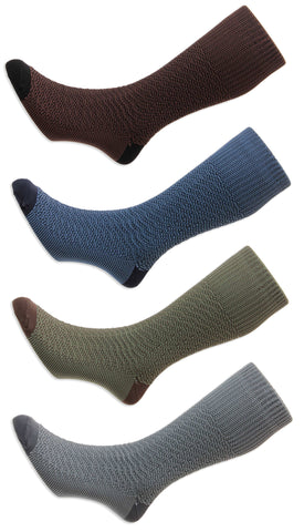 HJ Indestructible Fancy Marl Half Hose Sock, Green. Grey, Blue, Brown