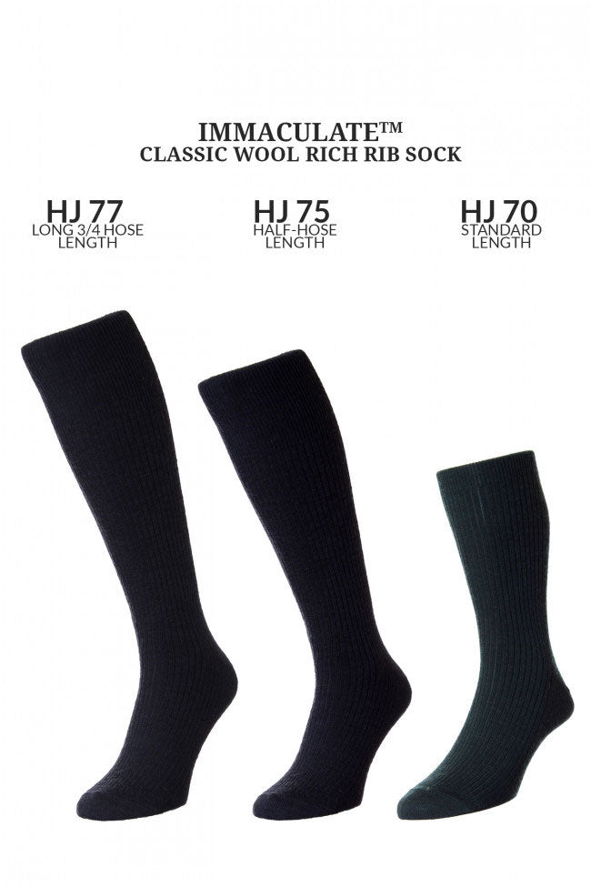 immaculate classic wool rich rib sock three sizes