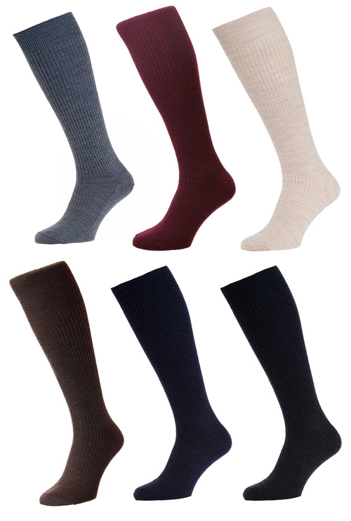 HJ Hall Immaculate Long Hose | Wool Rich | Grey, Burgundy, Oatmeal, Brown, Navy, Black