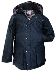 The Hoggs of Fife Padded Waxed Jacket in navy with hood