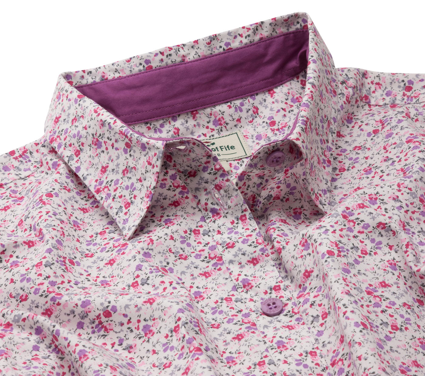 collar detail Hoggs of Fife Bella ladies Floral Shirt