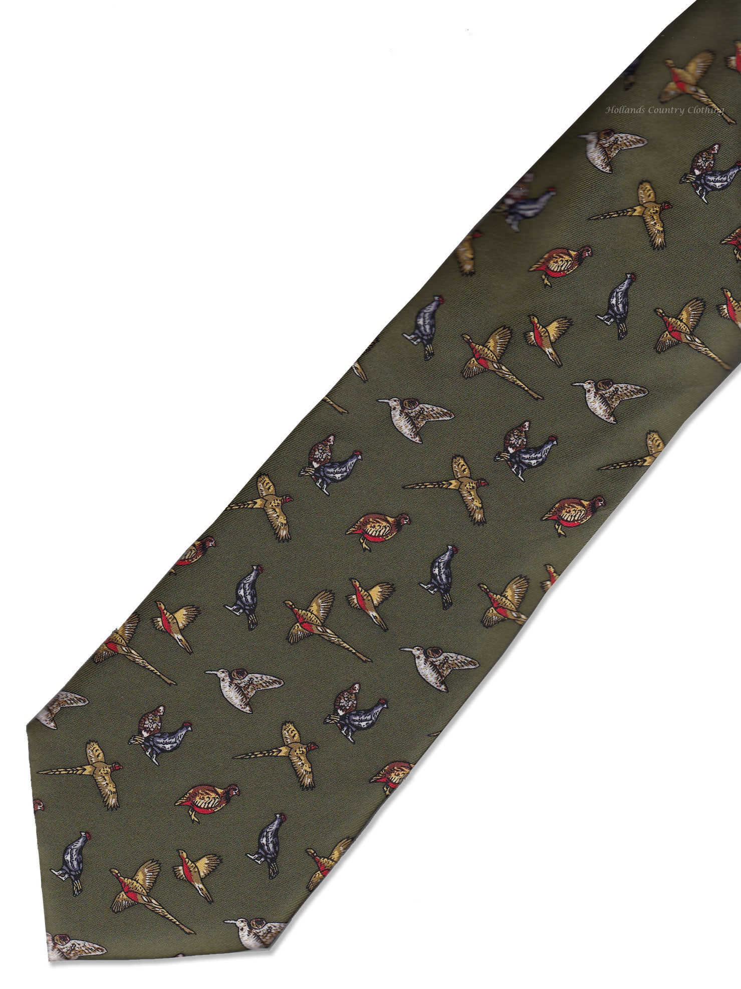 Hoggs Silk Tie - Green with Mixed Game Birds
