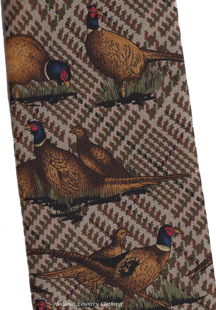 silk tie form hoggs brown with pgame birds