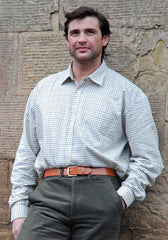 man wearing Hoggs 100% Cotton Tattersall Shirt. Four Colours