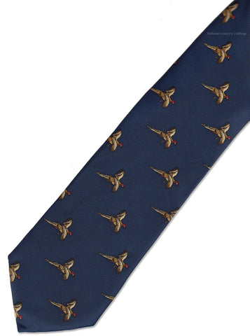 Hoggs Silk Tie -  Blue with Golden Flying  Pheasants