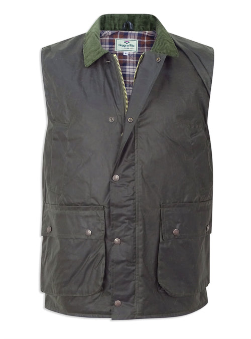 Waxed Cotton Gilet by Hoggs of Fife