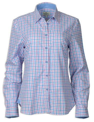 Hoggs of Fife Becky Ladies Cotton Shirt  BLUE AN DPINK CHECK