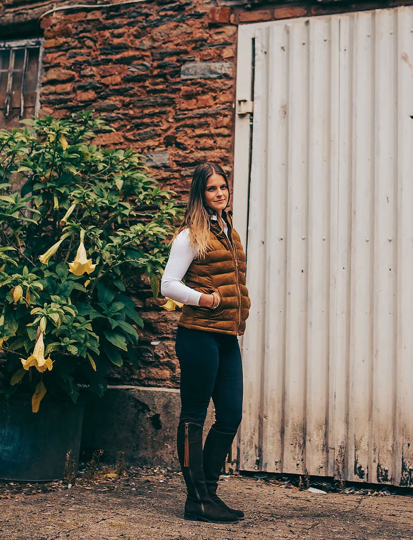 lady wears Windermere Ladies Gilet by Sporting Hares