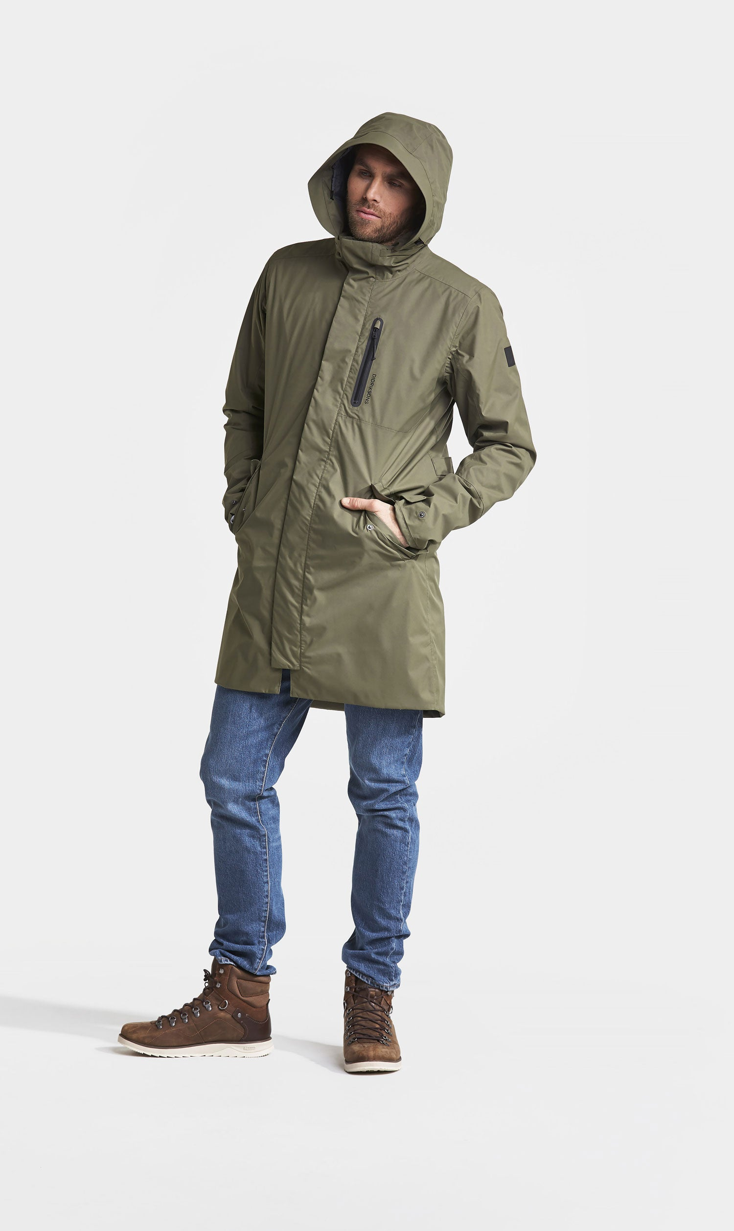 With hood up Didriksons Arnold Waterproof Parka in crocodile olive