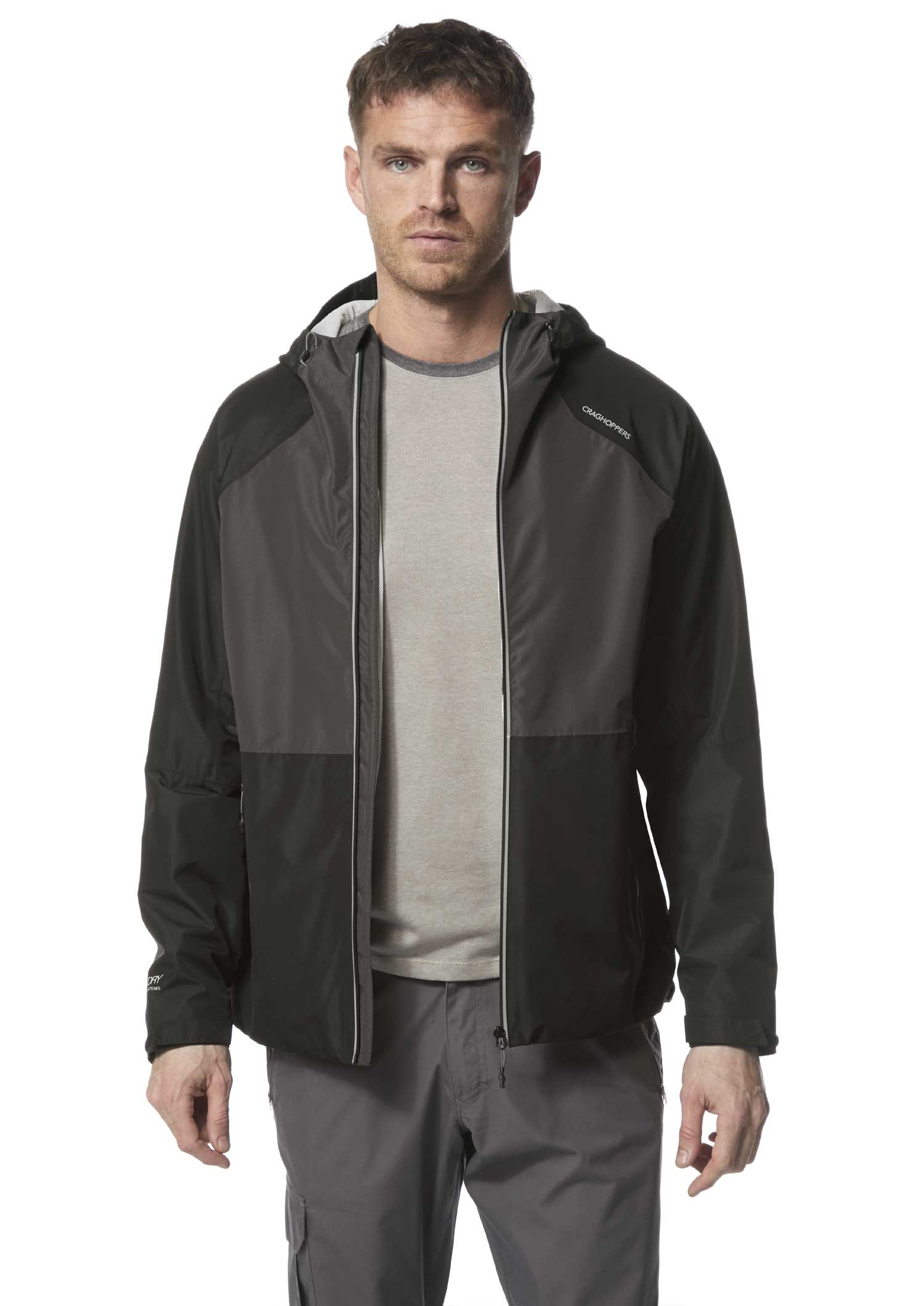 Black contemporary, two-tone, lightweight waterproof shell