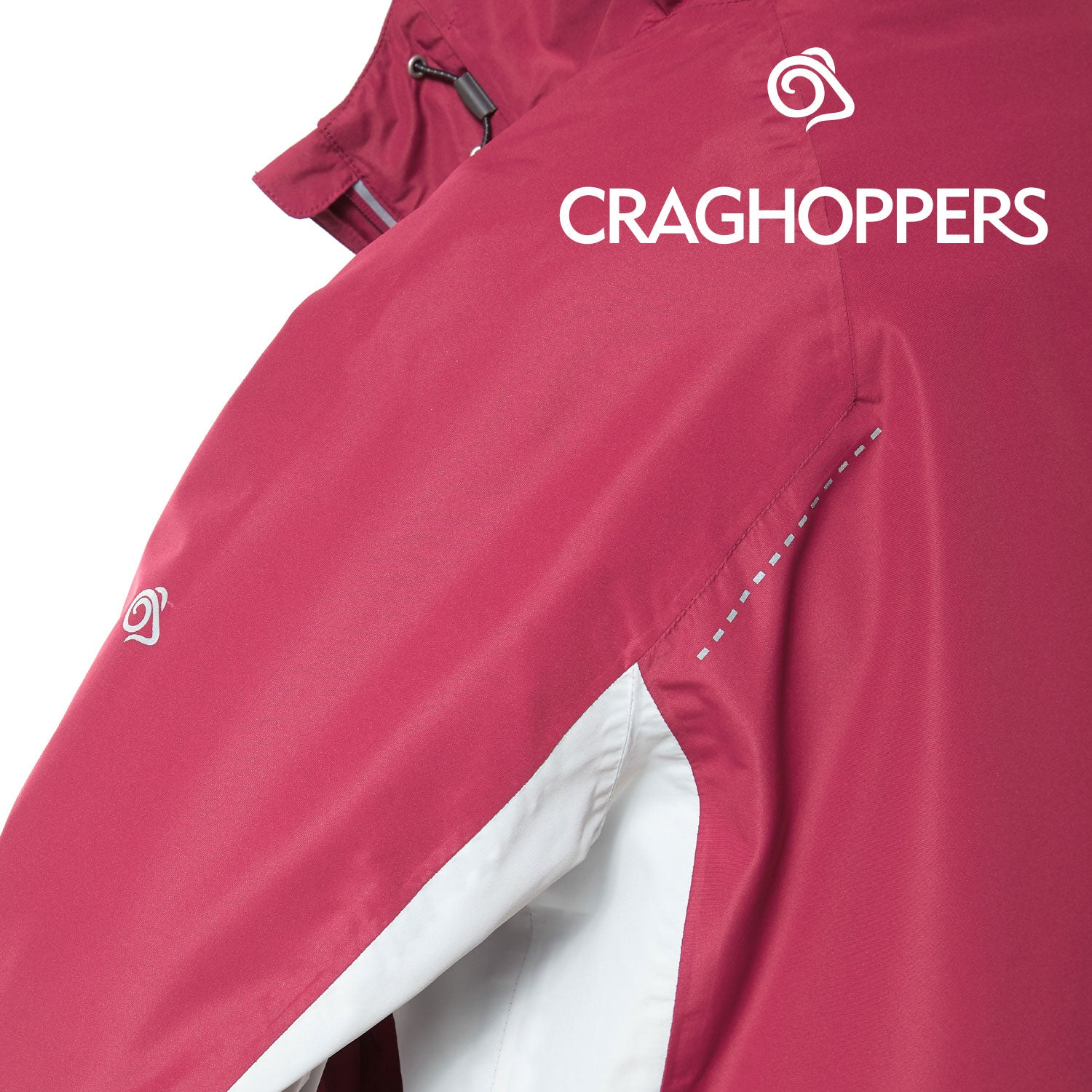 Arm insert view Craghoppers Horizon Waterproof Jacket | Amalfi Rose