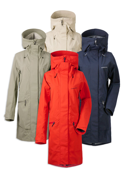 Didriksons Ilma Waterproof Parka | Poppy Red, Navy, Mistel Green, Light Beige