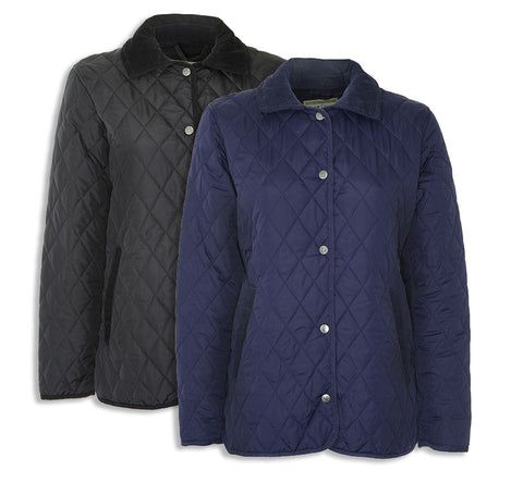Champion Ingleton Ladies Diamond Quilted Jacket in black and navy