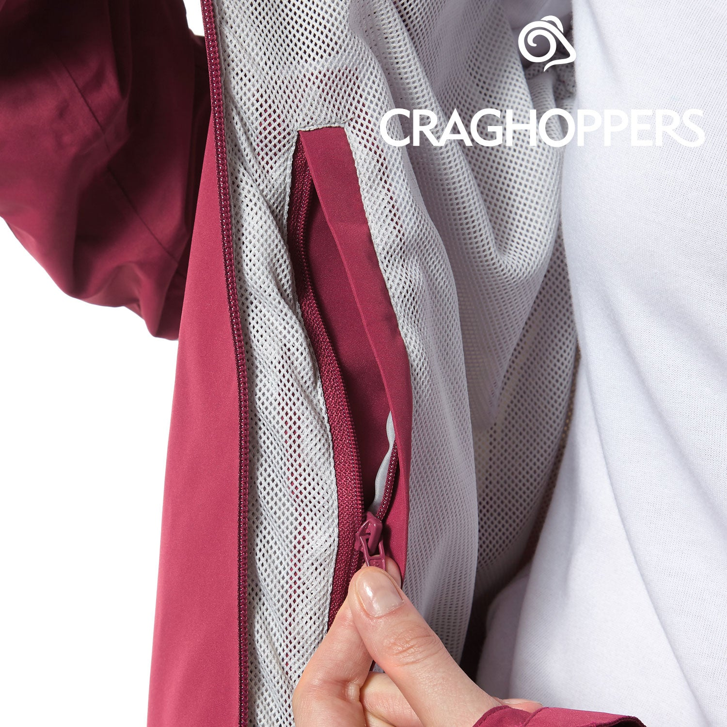 secure internal pocket Craghoppers Horizon Waterproof Jacket | Amalfi Rose