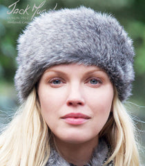 lady pretty face wearing Jack Murphy Isaga Faux Fur Headband