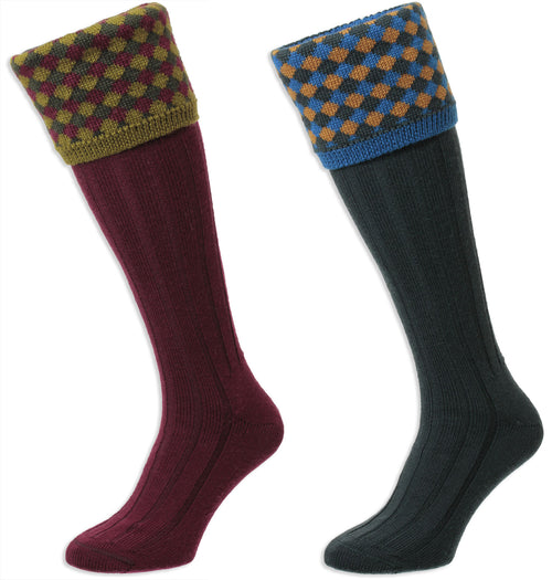 HJ Hall Hadleigh Shooting Sock | Harlequin Top