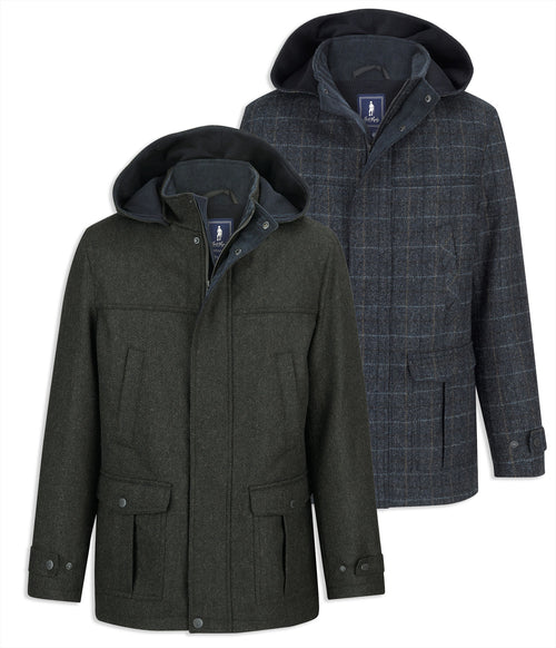 Jack Murphy Fredrick Tweed Coat in green herringbone and ink check